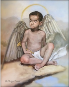 Choose Good Stuff - Boy Angel with Trumpet by Ginger Dean