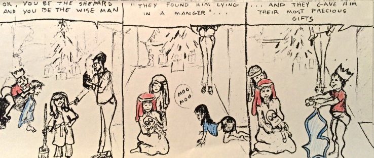 Cartoon of Children Acting Out Nativity