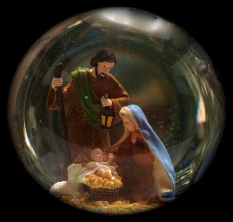 Glass Ball Nativity Picture
