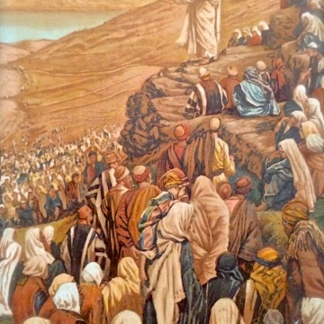 Jesus giving a sermon on the mount. Print by Tissot.