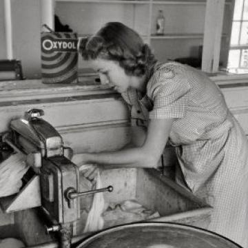 Woman at Wringer Washing Machine
